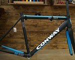 Conway Rennradrahmen Conway Q RR 800 52cm schwarz matt/blau inkl. Carbon-Gabel. Neu!