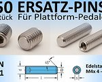 Ersatz-Pins 50 Stk. Ersatz-Pins / Ersatzteile für Plattform-Pedale (Edelstahl VA2, DIN 913; M4x 4, 5, 6, 8 oder 10mm) mit Innensechskant (NEU)