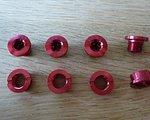 4X Kettenblattschrauben Alu rot eloxiert