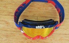 100% Goggle Blau/Rot mit verspiegelter Scheibe