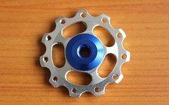 Sars 1 Paar (= 2 Stück) Aluminium Schalträdchen / Schaltwerksröllchen / Pulleys / Jockey Wheels (Silber-Blau) für SRAM und SHIMANO -Schaltwerke (NEU)