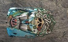 Troy Lee Designs D3 Carbon TLD Medusa Blue Chrome mit NEUEM VISIER, Größe: L