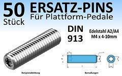 Wasi Gmbh & Co. Kg 50 Stk. Ersatz-Pins (Variante 1) für Plattform-Pedale (Edelstahl A2 oder A4, DIN 913; M4x 4, 5, 6, 8 oder 10mm) mit Innensechskant (NEU)