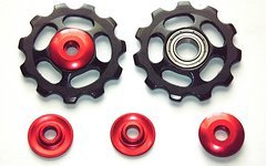 Paar Shaltröllchen Jockey Wheels MTB Shimano LX Xt Xtr/Sram X0 X9 - Schwarz-rot