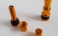 Aluminium AV Tubeless Ventil Set *rotgold / orange poliert*