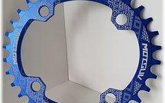 Narrow Wide Oval Kettenblatt, 34T, 104er Lochkreis *blau* oval