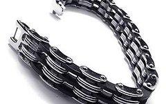 Jewel Steel TOP Edelstahl Kettenarmband MTB Freeride Enduro Schmuck silber, schwarz