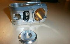 Sixpack Millenium Vorbau 31.8 x 50 mm mit Headcap RAW / silber