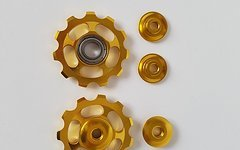 Aluminium Schaltwerkröllchen Set / 11 Zähne / Pully 11T *gold*