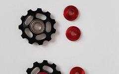 Cyconsult® Aktion! Aluminium Schaltwerkröllchen Set / 11 Zähne / Pully 11T *schwarz/rot*