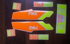 Gabeldecals Rock Shox Pike - Rock Shox Monarch DebonAir Aufkleber Satz Neon Gelb/Neon Orange