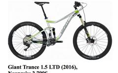 Giant MTB Gr L Giant Trance 1.5 LTD 2016 Mountainbike 27,5 Bike TOP WOW Restgarantie NP 2799 Allmountain TOP Zustand Alu-Silber, grün, schwarz