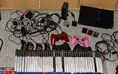Sony Playstation 2 Konsole - MEGA Paket - extrem viel Zubehör - 40 Spiele, BUZZ, Eyetoy, 4 Original Controller, 3 MC etc.