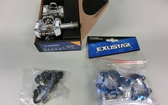 Exustar E-PM212 SPD kompatible MTB Pedale weiß / blau eloxiert