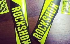 Gabeldecals Rock Shox Sid 2016 Gabel Aufkleber Satz in Neon Gelb - Matt Schwarz Design