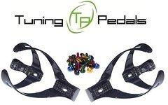 Tuning Pedals 2x Carbon Trinkflaschenhalter + 4 farbige Aluschrauben (Modell001)