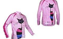 Morgentau UPDATE Damen Radsport Trikot Langarm Katze Herzen rosa
