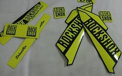 Gabeldecals Rock Shox Lyrik + Monarch Plus Debon Air Aufkleber Satz Neon Gelb/Matt Schwarz
