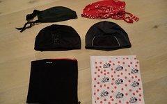 Diverse 6 x Fahrrad Bike Kopfbedeckung 6 Teile 2x Bandana 2x Helmmütze 2x Multifunktionstuch Tücher alles Gr. L
