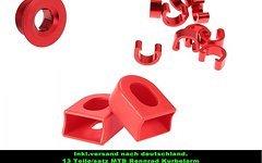 Tuning 100% Rot  1 x Kurbelschraube Hollowtech II+10 X Alu C-Clip Zugbefestigung Seilzug+ 2 x Kurbelarm Schutz