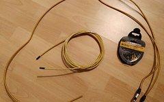 Jagwire Mountain Pro gold Kevlar (ähnlich Stahlflex) Hydraulikleitung Komplettset Universal (+ gold Kevlar Schaltzug)