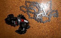SRAM X01 DH 7-Fach Schaltwerk short rot + Kette