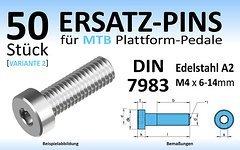 Wasi Gmbh & Co. Kg 50 Stk. Ersatz-Pins (Variante 2) für Plattform-Pedale (Edelstahl A2 oder A4, DIN 7984; M4x 6, 8, 10, 12 oder 14mm) mit Innensechskant (NEU)