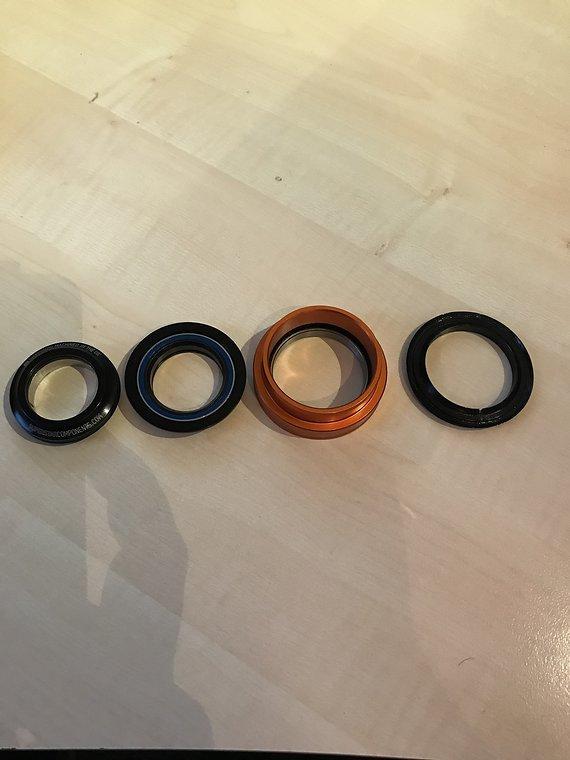 Superstar Components mixed tapered Steuersatz ZS44/28.6 EC49/49 schwarz/orange **WIE NEU**