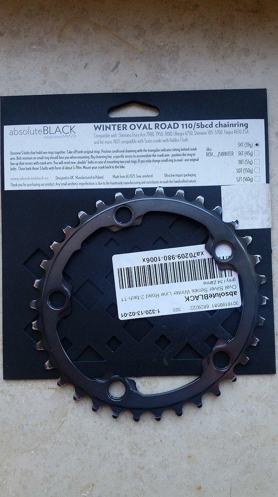 Absoluteblack 34Z. Kettenblatt oval 110mm/5-Arm - Shimano 7800/6750 - Road Winter - grau