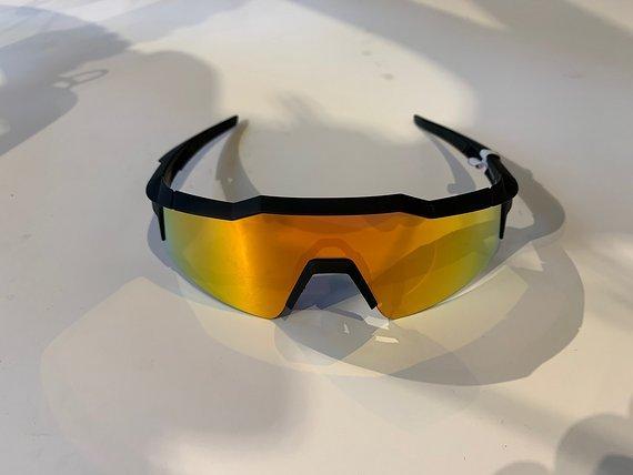 100% Speedcraft SL (MTB) Sportbrille Soft Tact Black - HiPER Red Multilayer Mirror Lens