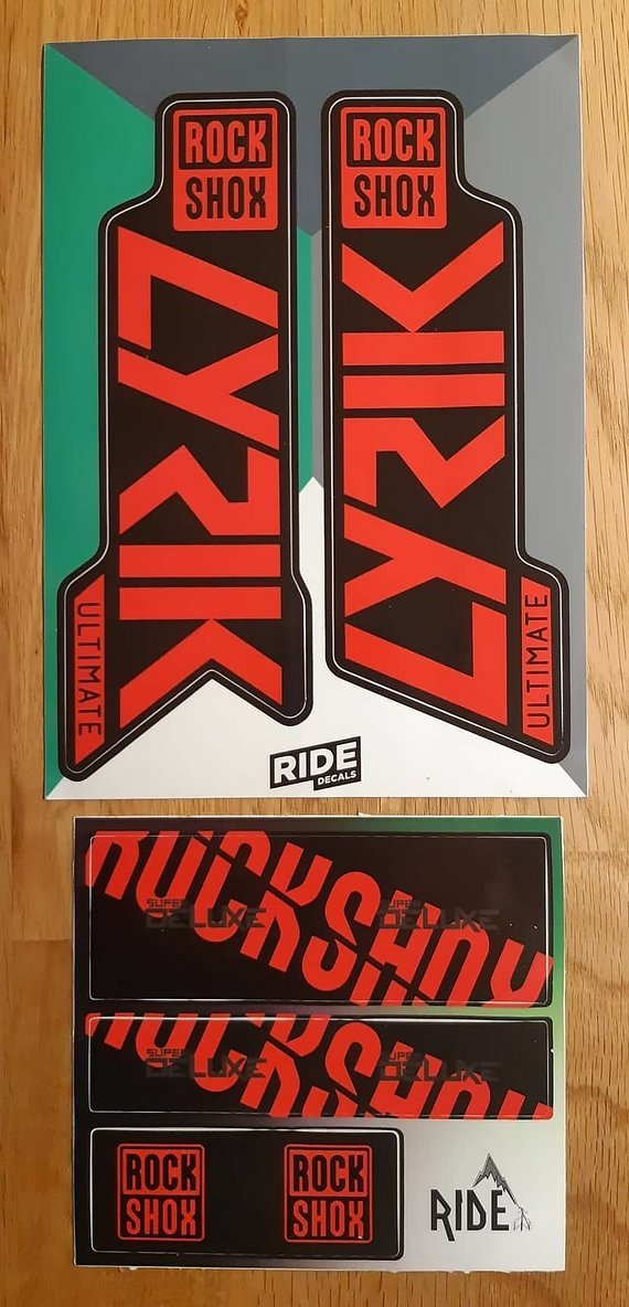 RockShox Lyrik Ultimate / RCT3 + Super Deluxe 2020 Decals Sticker Set candy red