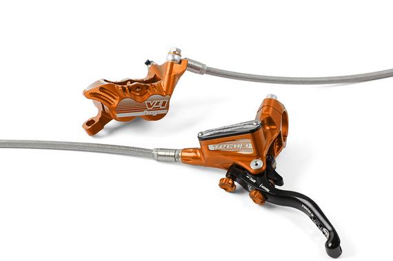 Hope Bremsen V4 mit Tech 3 Hebeln Downhill/Enduro Komplettset mit Stahlflexleitungen orange