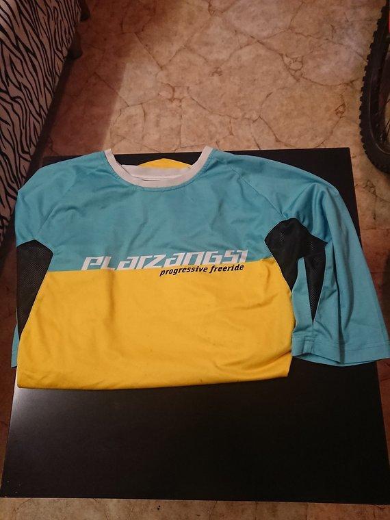 Platzangst Bikeshirt/Sweatshirt, kurzarm, hellblau/gelb, Gr.M, gebraucht
