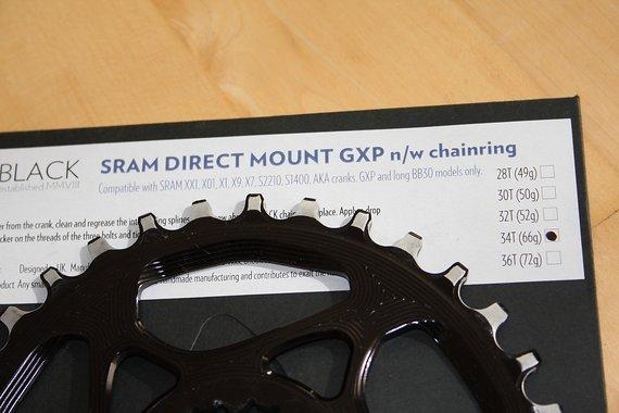 Absolute Black SRAM GXP 34T 🚵 Direct Mount 🐐 narrow wide 🐐 Kettenblatt 🏁