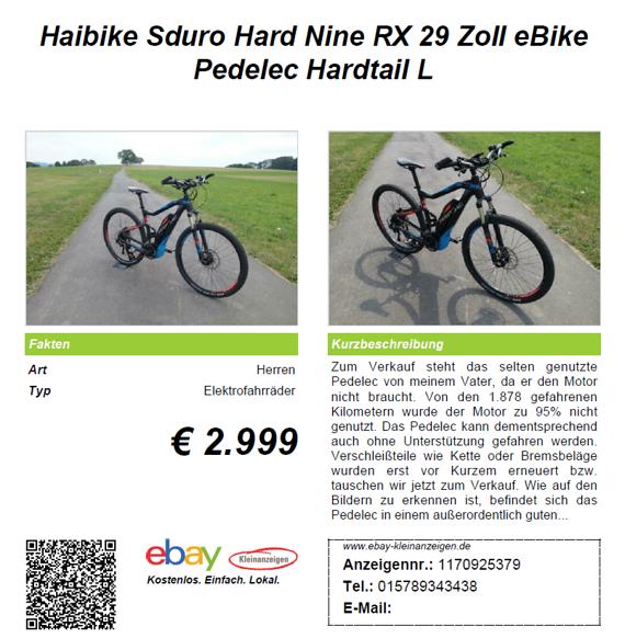 Haibike Sduro Hard Nine RX 29 Zoll eBike Pedelec Hardtail L