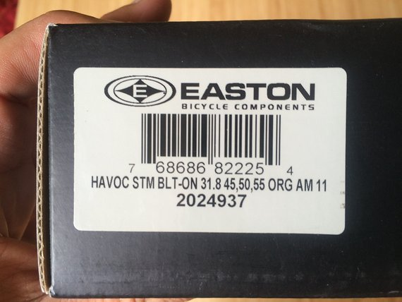 Easton Havoc Bold On Vorbau Orange