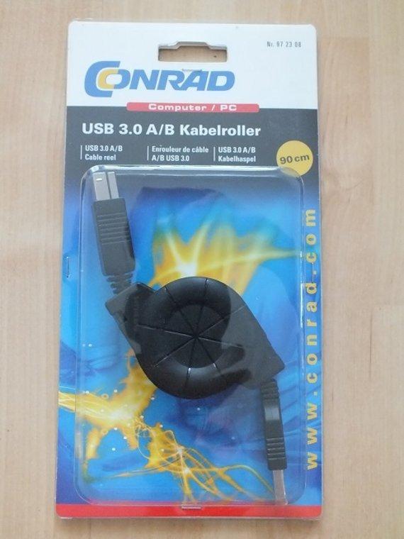 Conrad USB 3.0 Anschlusskabel Typ A / B 0.90 m Aufrollbar / Ausziehbar / Kabelroller !