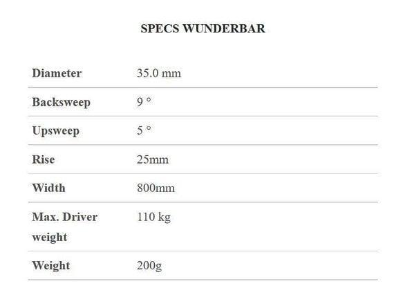 Tune Wunderbar Lenker Carbon 80 cm Breit 25mm Rise für 35mm Oversize