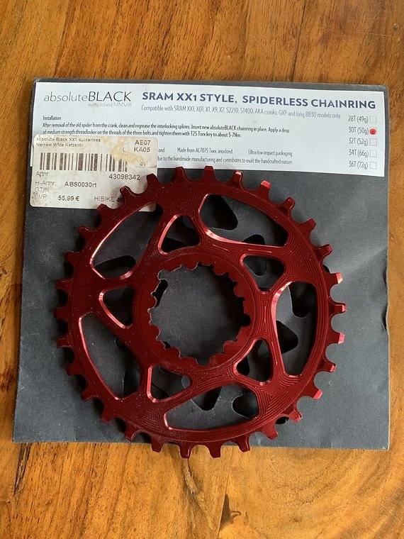 Absolute Black Sram XX1 Style 30 Zähne rot