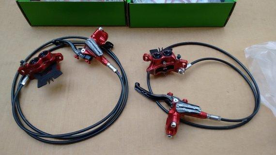 Hope Tech 3 E4 Bremsen Set vorne+hinten rot