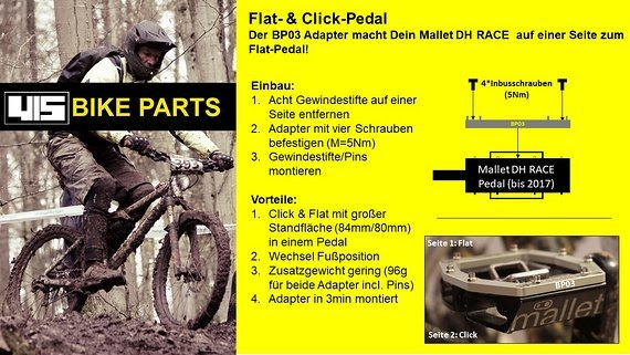 YLS Flatpedal Adapter für Mallet DH Race (Cranck Brothers) ohne Pins