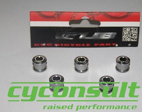 Cyconsult® Alu Kettenblattschrauben (5 Stück!) M8x6mm *titan grey*