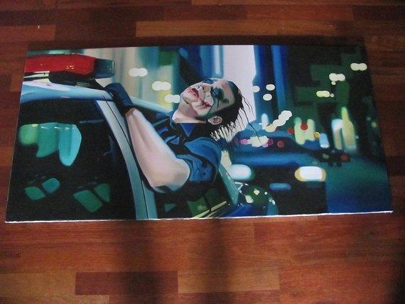 Diverse Batman Joker 118cm x 60cm Handgemalt Ölgemälde auf Leinwand Unikat