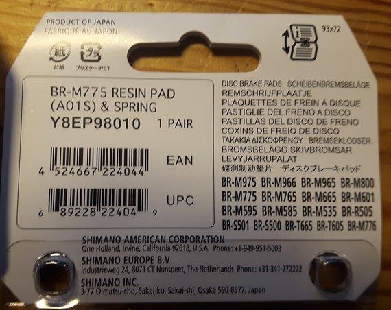 Shimano Bremsbeläge A01S, neu, original verpackt (XT SLX Alfine)