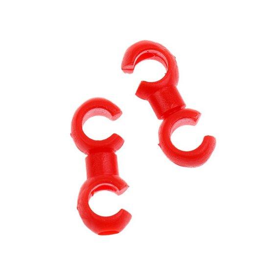 2 x drehbarer Kabel Haken * Verbinder * Rotating Hooks * für Außenhüllen rot
